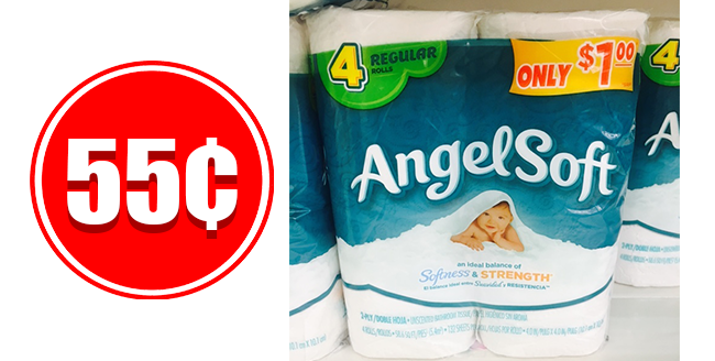 Angel Soft bath tissue for only 55 cents