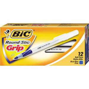 Bic round stic grip 12 ct