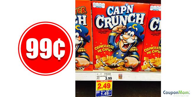 99¢ Cap'n Crunch Cereal at Kroger